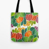 succulents Tote Bags featuring Succulents by Cat Coquillette