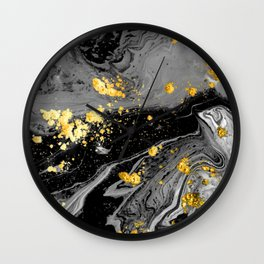 Black Marble Gold Wall Clock