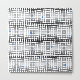 Dottywave - Grey and blue wave dots pattern Metal Print