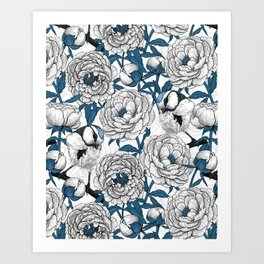 White peonies and blue tit birds Art Print