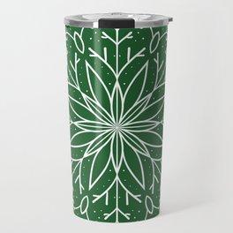 Single Snowflake - green Travel Mug