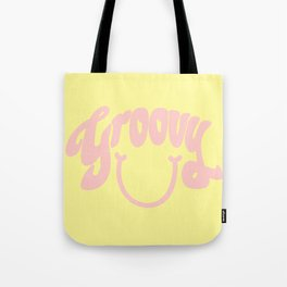 Groovy Smile // Fun Retro 70s Hippie Vibes Lemonade Yellow Grapefruit Pink Lettering Typography Art Tote Bag
