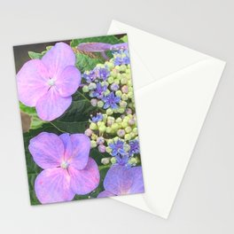 Lavender Flower Photography - Lace-cap Purple Hydrangea Flower Custom Floral Art Stationery Cards