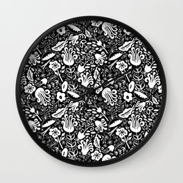 Funky Vintage Floral // Monochrome Black and White // Color Your Own Flower Garden Wall Clock