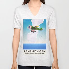 Lake Michigan flight travel poster Unisex V-Neck