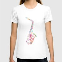saxophone T-shirts featuring Stylized  saxophone by Rceeh