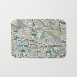 Illustrated map of Berlin-Mitte. Green Bath Mat