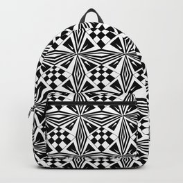 black and white symetric patterns 19- bw, mandala,geometric,rosace,harmony,star,symmetry Backpack
