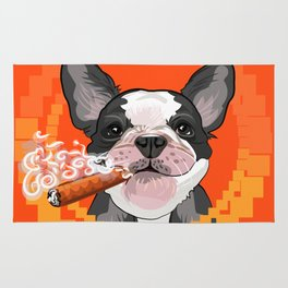 Cute dog head with a Cuban cigar Rug