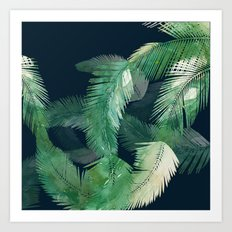 Tropical Leaves at Night Art Print