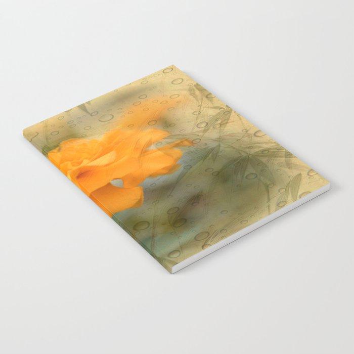 Orange Marigold  Raindrop Abstract Notebook