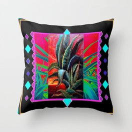 BLACK WESTERN TURQUOISE MODERN ART DESERT AGAVE CACTUS Throw Pillow
