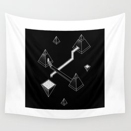 Black Space Pyramids Wall Tapestry