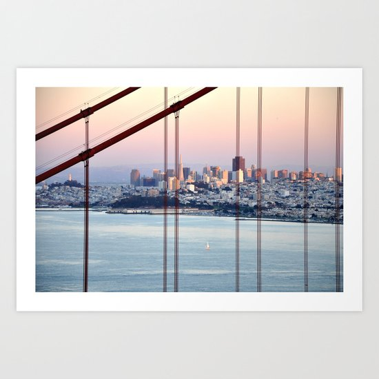 SAN FRANCISCO & GOLDEN GATE BRIDGE AT SUNSET Art Print