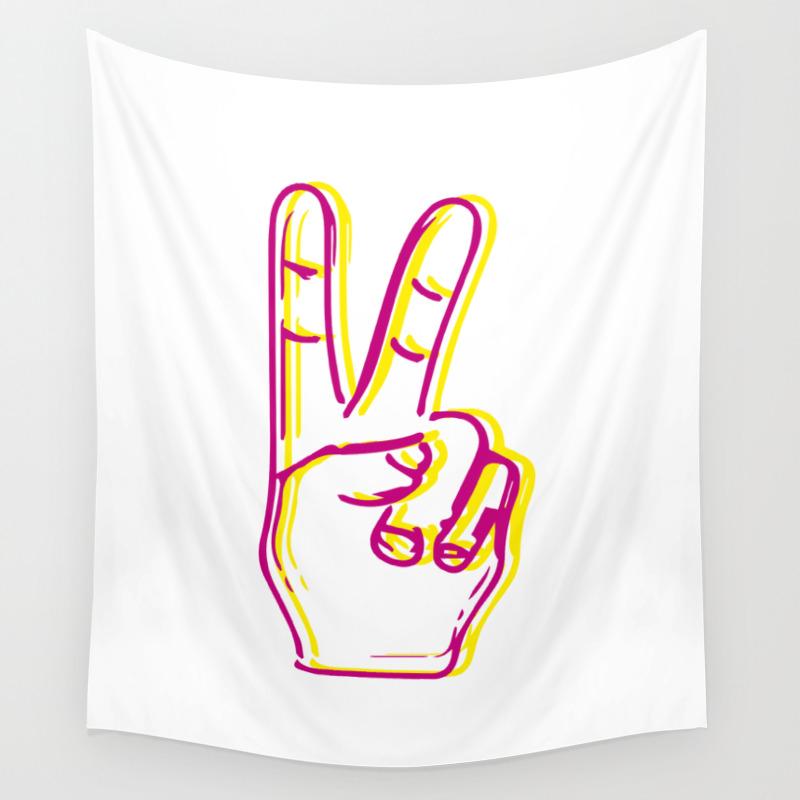 Peace Fingers Wall Tapestry by Julenejorgensen TPS8312359