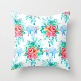 Lush Watercolor Floral with Sleepy Sloths Throw Pillow