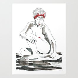 Mother Earth Grounding; seated nude Art Print