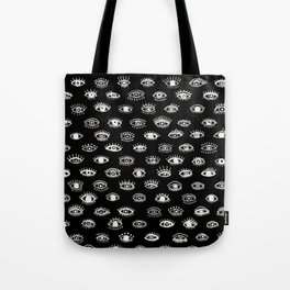 Lucky Eyes, White on Black Tote Bag