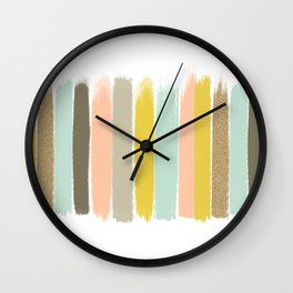 Madison - Brushstroke art print in modern colors bright and happy gifts for trendy girls Wall Clock