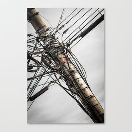 Wires on utility pole Canvas Print