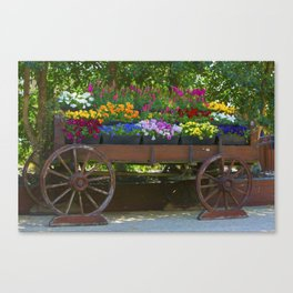 Spring Flowers in Cart Canvas Print