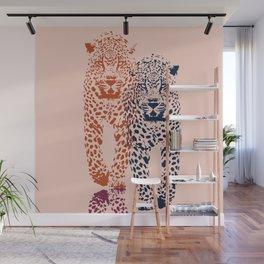 Kitten Club - Navy, Orange & Purple Leopard Print by Kristen Baker Wall Mural