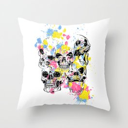 Skeleton Bone - Colored Vintage Skulls Throw Pillow