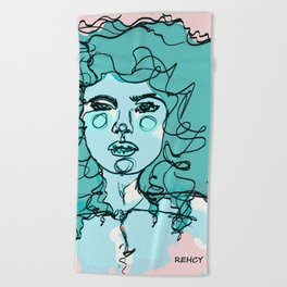 Curly Turquoise Beach Towel