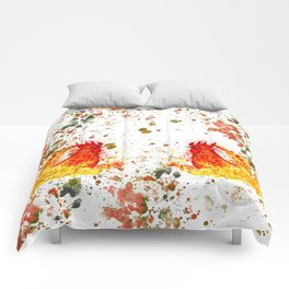 Fire watercolor rooster Comforters