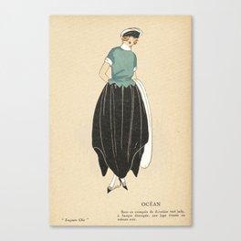1920s Women's Fashion Plate - Ocean - Nautical Canvas Print