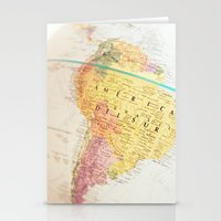 world maps Stationery Cards featuring Maps by Caroline Mint