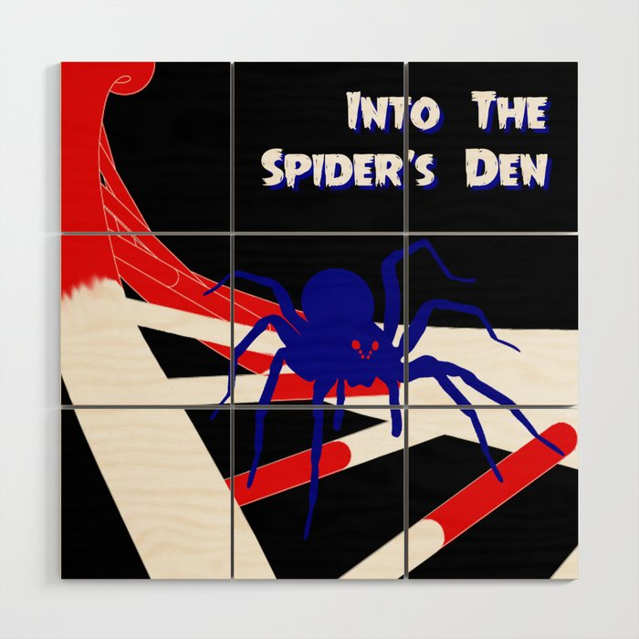 Pulp-Style Novel Cover - Into the Spider's Den Wood Wall Art