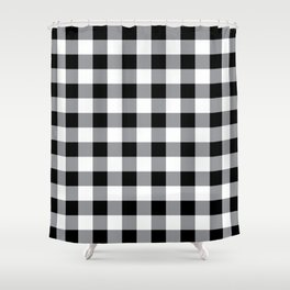 Farmhouse Style Black Buffalo Check Pattern Shower Curtain