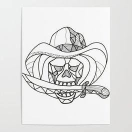 Cowboy Pirate Skull Biting Dagger Mosaic Poster