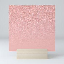 Rose Gold Glitter Cascade Mini Art Print
