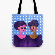 Girls in Purple and Sunglasses Tote Bag