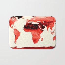 World Map brick red Bath Mat