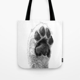 Black and White Dog Paw Tote Bag
