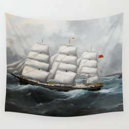 Vintage British Frigate Sailboat Painting (1881) Wall Tapestry