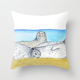 Lazy Spotted Seals Throw Pillow