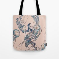 jellyfish Tote Bags featuring Jellyfish by Huebucket