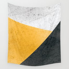 Modern Yellow & Black Geometric Wall Tapestry