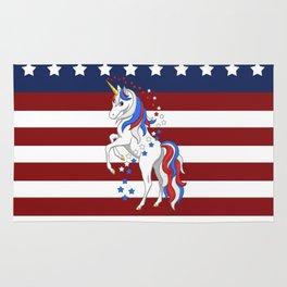 American Flag Stars and Stripes Unicorn Rug