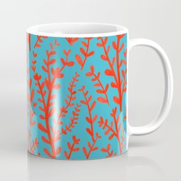 Turquoise and Red Leaves Pattern Coffee Mug
