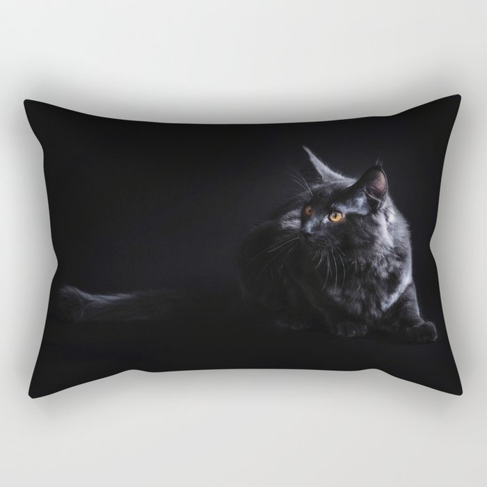 Black Maine Coon Cat Rectangular Pillow