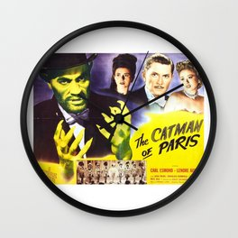 The Catman of Paris, Vintage Horror Movie, Theater Poster Wall Clock