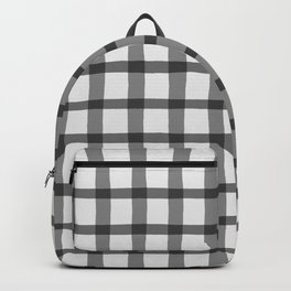 Gray and White Jagged Edge Plaid Backpack