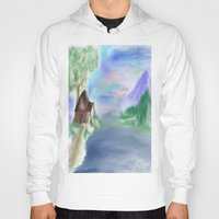 cabin Hoodies featuring Peaceful Cabin by Christina Dugger