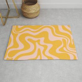Liquid Swirl Retro Abstract Pattern in Mustard Orange and Light Blush Pink Rug