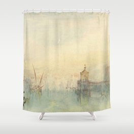 "J.M.W. Turner ""Venice: The New Moon – The Dogana from the steps of The Hotel Europa"" Shower Curtain"